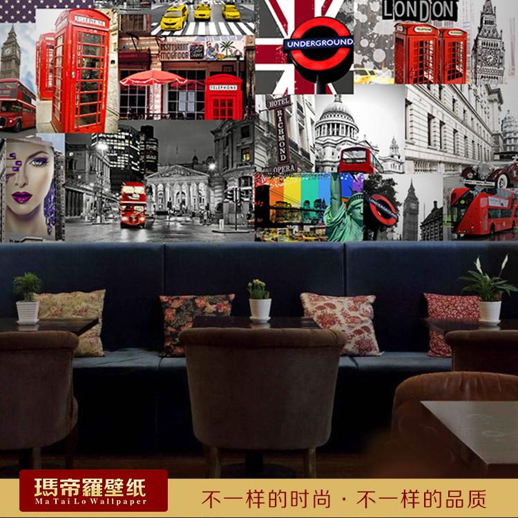 Red bus European style retro construction of a large mural coffee shop tea shop wallpaper leisure bar KTV wallpaper(China (Mainland))