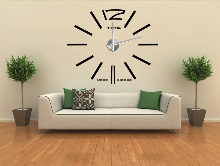 diy modern frameless large wall clock home decoration. Black Bedroom Furniture Sets. Home Design Ideas