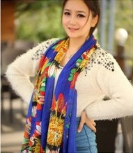 Long chiffon Velvet scarf/1pc Indian style Feather Flower  Printed woman decorated scarf/SJ-021