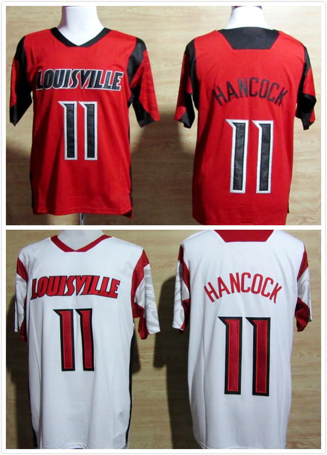 Free Shipping Louisville Cardinals #11 Luke Hancock American baseball jersey NCAA cheap good quality jersey red white Size:M-XXX(China (Mainland))