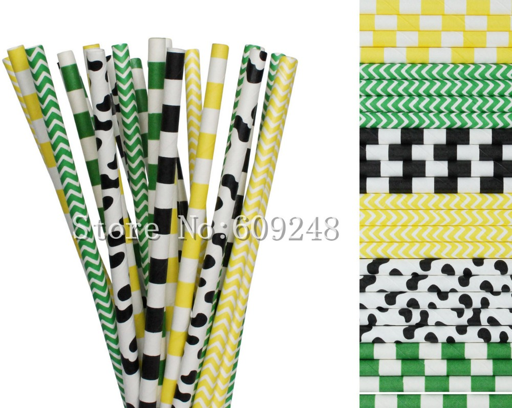 150pcs Drinking Paper Straws Mix,Kelly Green and Yellow Chevron and Sailor Striped,Black Cow and Stripe,Farm,Cowboy,Country Fair(China (Mainland))
