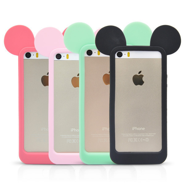 New Fashion Black 3D Mickey mouse ears silicon frame bumper for iPhone 5G 5 5S case soft Rubber lovely cartoon phone cases cover(China (Mainland))