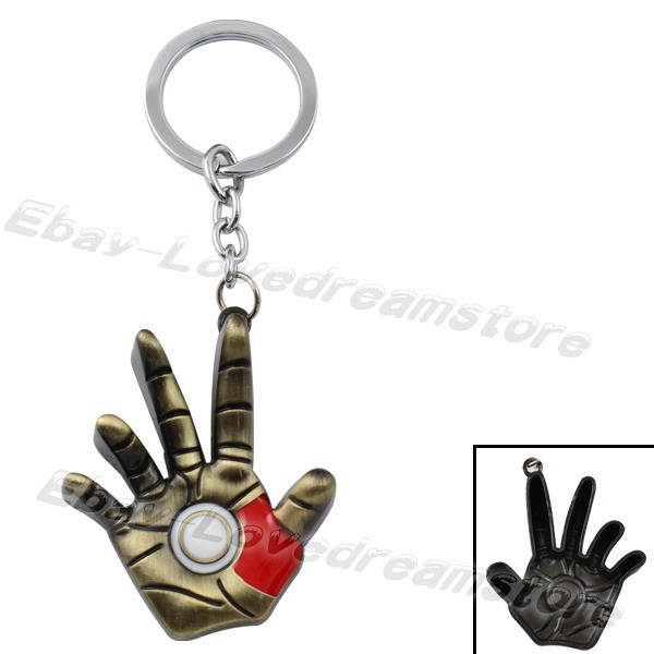 "FREE SHIPPING Anime Cartoon Cool! Super Hero Iron Man 3D Right Hand 11.5cm/4.4"" Metal Key Ring Chain Loose(China (Mainland))"