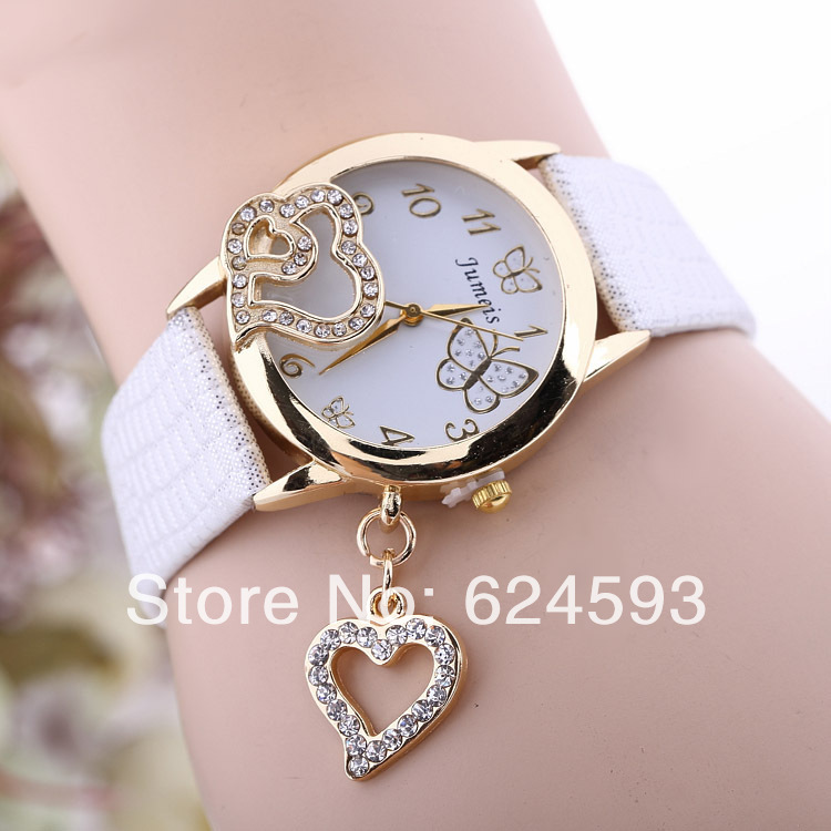 2014Promotional Most Popular Hawaiian / European Style Fashion Butterfly / Heart / Love Woman Leather Quartz Watch(China (Mainland))