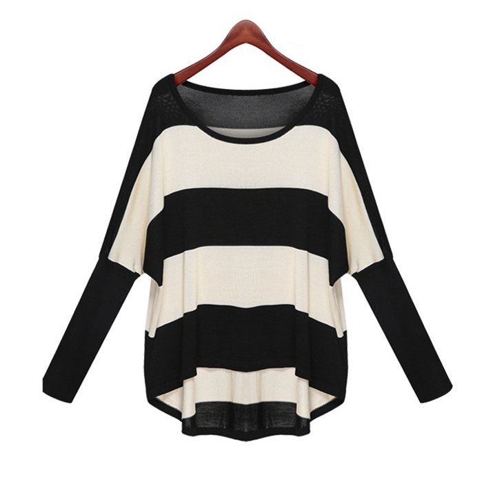 Гаджет  S-XXXL Spring Summer 2014 Batwing Sleeve Colorblock Striped Thin Pullover Knit Sweater for Women Loose blouses & shirts WS-039 None Одежда и аксессуары