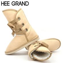 HEE GRAN Mujer de la Nieve Botas de Invierno de La Manera Artificial Fur Nudo Botas de Moto tobillo de Mujer Zapatos de las mujeres 5 Colores Tamaño 35-40 XWX1324(China (Mainland))
