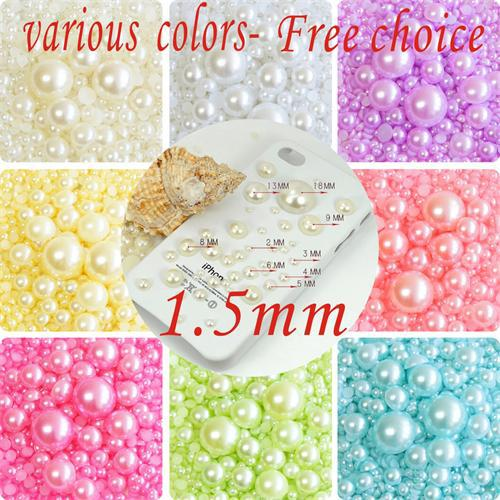 10000 Pcs 1.5mm Various Colors Craft ABS Imitation Pearls Half Round Flat back Beads Resin Pearls For Decoration(China (Mainland))