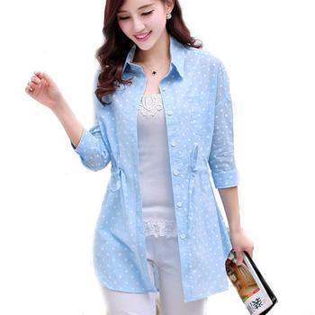 2015 новинка лето женщины длинные блузки горошек ремень секси длинный леди рубашки девушка блузка синий желтый розовый цвета Большой размер