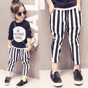 girls spring clothing suit black shirt with letter printed and striped long pants chidlren's tracksuit for 2-7years old baby kid
