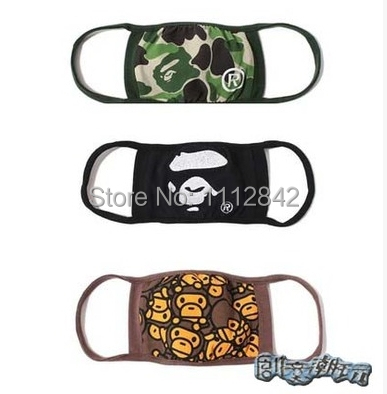 3 pcs/ lot 14AW Bape&Milo 1st Camouflage face Mask fashion monkey ape head logo flu mask 11.3x17CM - Fly Your Own Flag Store store