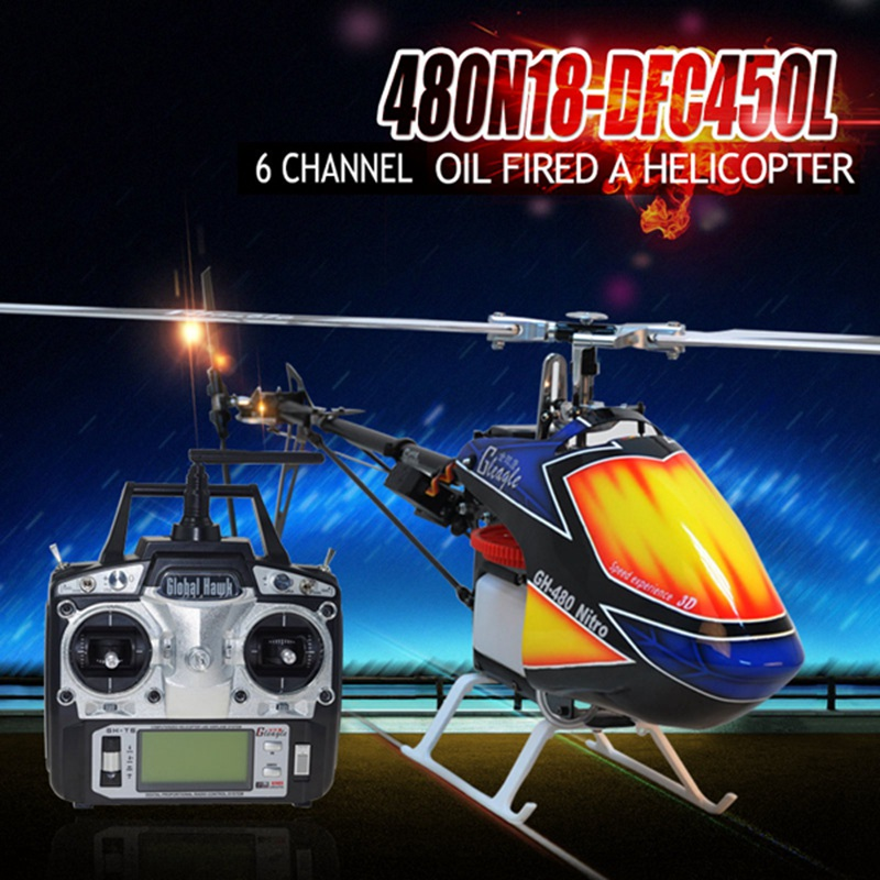 2016 New Arrival Brand New Global Eagle 480N 2.4G 6CH DFC Fuel Oil Nitro RC Helicopter Remote Control Toys RTF(China (Mainland))