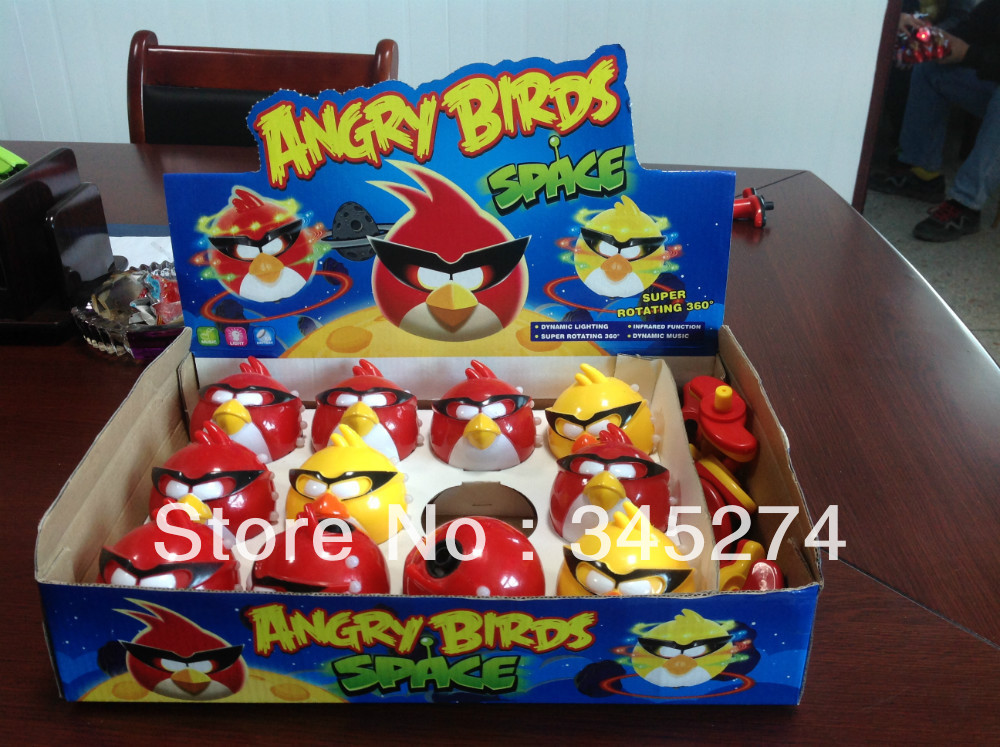 12pcs/lot special bird spning toys infrared with dynamic lighting and music ;Flash Spinning Whipping Top retail display box(China (Mainland))