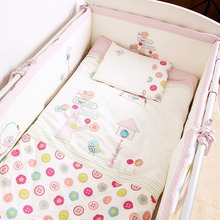 7Pcs/Set Cotton Pink Baby Bedding Set Cartoon Crib Bedding Set for Girls Detachable Cot Quilt Pillow Bumpers Fitted Sheet(China (Mainland))