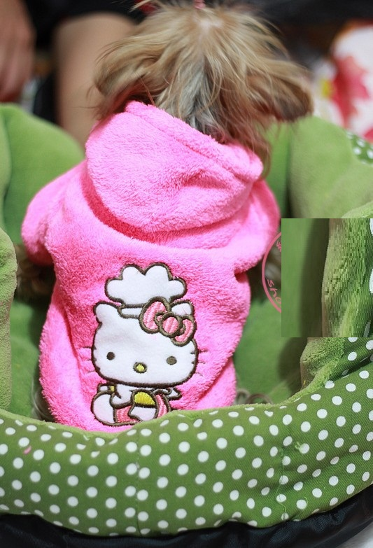 Retailed Hello kitty Pet dog clothes cute winter rose coat hoody jumper clothing for dogs mascotas roupa para cachorro XS-XL(China (Mainland))