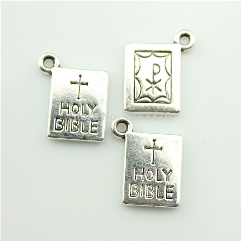 Charms HOLY BIBLE 40 pieces/lot Size:17*14mm No.S02656 Hot Sales Antique silver DIY Retro Jewelry Accessories Vintage - 99Cent Shop store