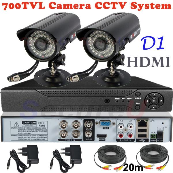 Sale 2ch cctv kit security surveillance alarm system 700TVL thermal video hd camera 4ch D1 DVR digital video recorder HDMI 1080P(China (Mainland))