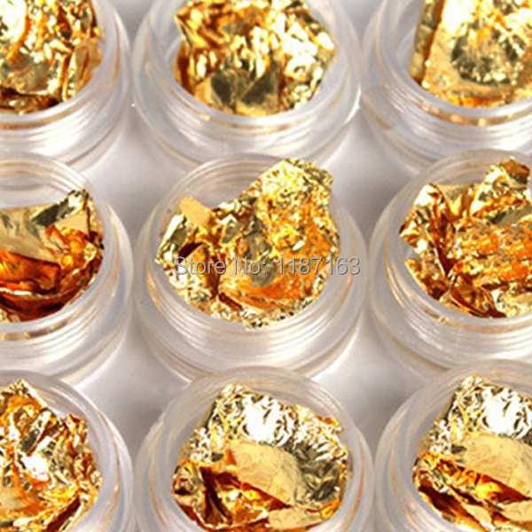 1Set/6 pots 2014 NEW Gold Silver Copper Transfer Foil Paillette Chip Colors Nail Art Glitter Foil Decoration Set + Free zui9(China (Mainland))
