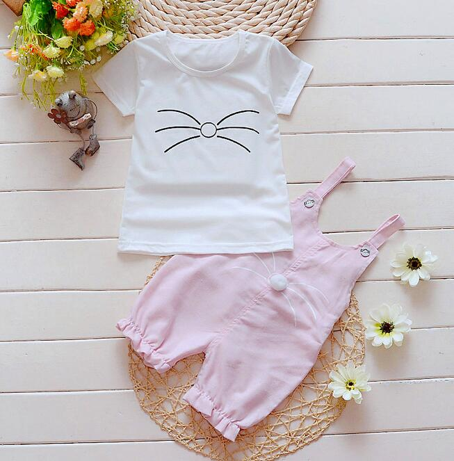 2016 new arrival Baby girls The cat setscotton strap suit Korea kids clothes child sets open crotch(China (Mainland))