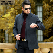 2016 Mont Brand-clothing Winter Jacket Men Woolen Outerwear Business Social Trench Coat Medium-long Stand Collar Slim Fit Jacket(China (Mainland))