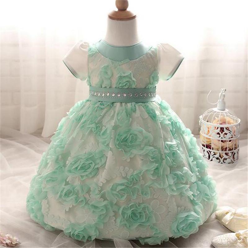 Скидки на 2016 прекрасный Свадебное Платье Baby girl одежда для новорожденных Малышей с коротким рукавом цветок бантом туту платье