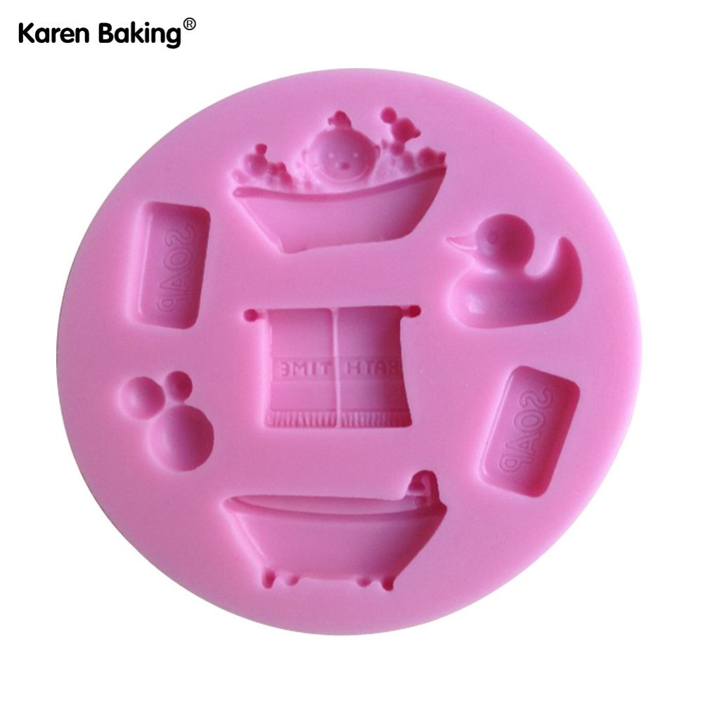 Bath Time Chocolate Candy Jello 3D Silicone Mold Cake Tools Soap Mold Sugarcraft Cake Decoration(China (Mainland))