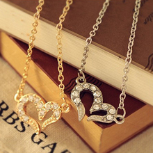 New Fashion Cute Charm Women Silver Heart Rhinestone crystal Pendant necklace Jewelry For Lover Charming