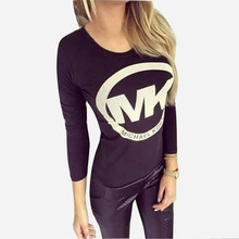 2015 New Lady Autumn Women Sexy T Shirt  Long Sleeve T-Shirts Top Clothing Back Criss Cross Plus Size camisetas mujer HQF0053M(China (Mainland))