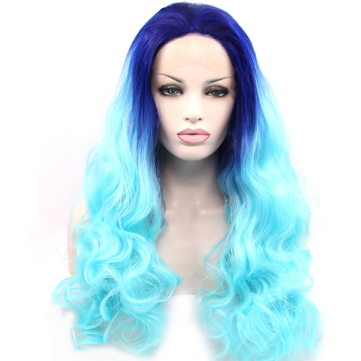 "Фотография Hot sales Blue gradient Cosply Wigs 26""Fashion Long Curly Style Lace Front Wigs For Women Synthetic Heat Resitant Wigs"