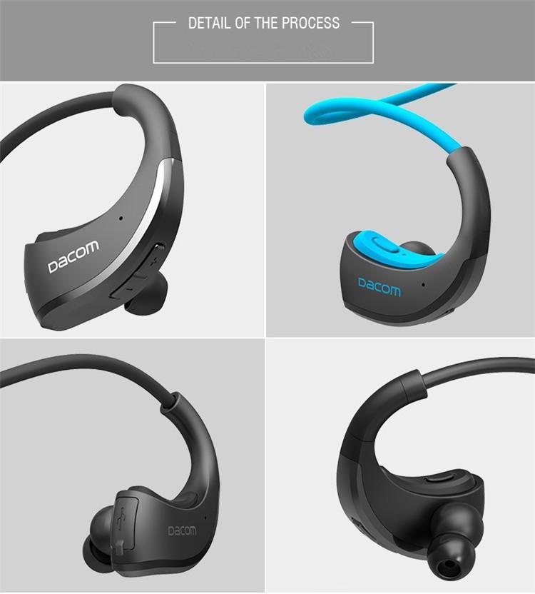 Dacom Armor Bluetooth V4.1 Stereo Headphones IPX5 Waterproof Wireless Outdoor Sports Headset Handsfree Music Earphone With Mic