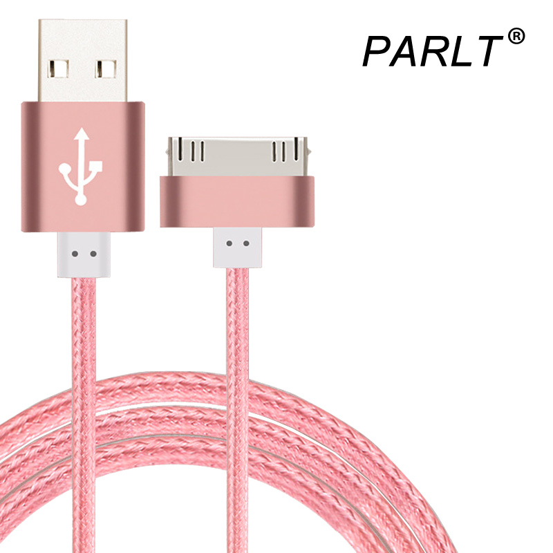 Original 100cm 30 Pin Metal Plug USB Cable for iphone 4 4s Nylon Braided Sync Data Charging Charger Cable for iPad 1 2 3 iPod(China (Mainland))