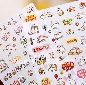 fashion sticker new Korea stationery Cute cat diy diary sticker / transparent decorative stickers nice gift F160(China (Mainland))
