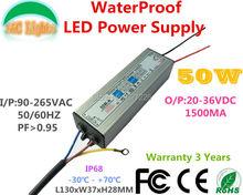 50W IP68 Waterproof LED Power Supply 1500MA 20V - 36V LED Driver Adapter Flood Lights Tunnel Light Street  Lights110V 220V CE(China (Mainland))
