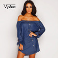 Vicabo Women Autumn Boho Chic Slash Beach Dresses Lady Bowknot Long Sleeve Baggy Dress Female Elastic