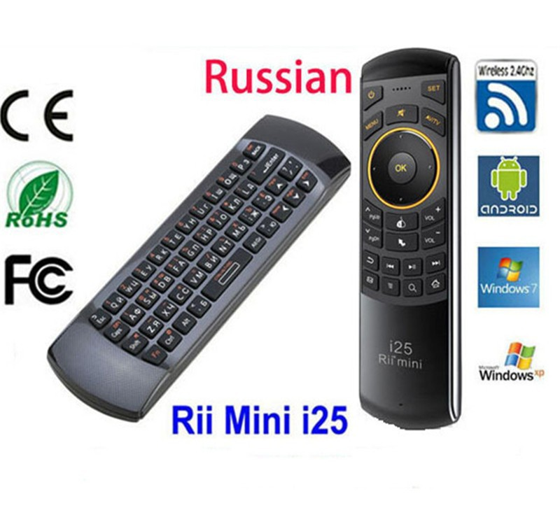 Original Russian Rii i25 Keyboard 2.4G Mini Wirless Keyboards With Air Fly Mouse High Quality For PC HTPC Smart Android TV Box09