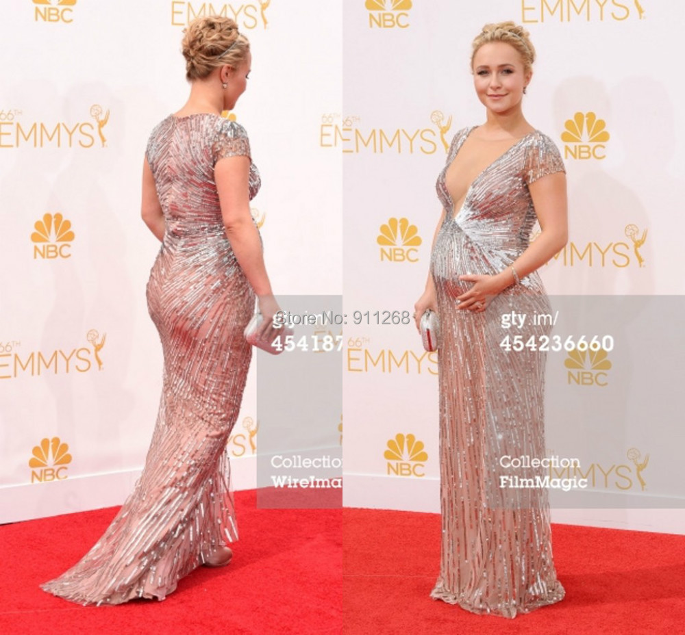 66th Annual Primetime Emmy Awards Gorgeous V-neck Red Carpet Celebrity Dress Short Sleeves Mermaid Seuiqns Pregnant Evening Gown - sexy bridal gowns store