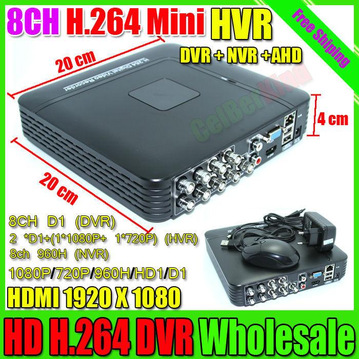 Mini DVR 8CH Hybrid NVR DVR Recorder Full D1 Onvif P2P Cloud DVR Recorder HD1920*1080 Video Recording system Free Shipping(China (Mainland))