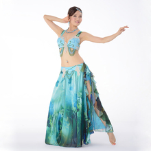 Top Grade Performance Egyptian Belly Dance Clothes 2pcs Outfit Plus Size Bra C/D Cup Flamenco Skirt Belly Dance Costume Set