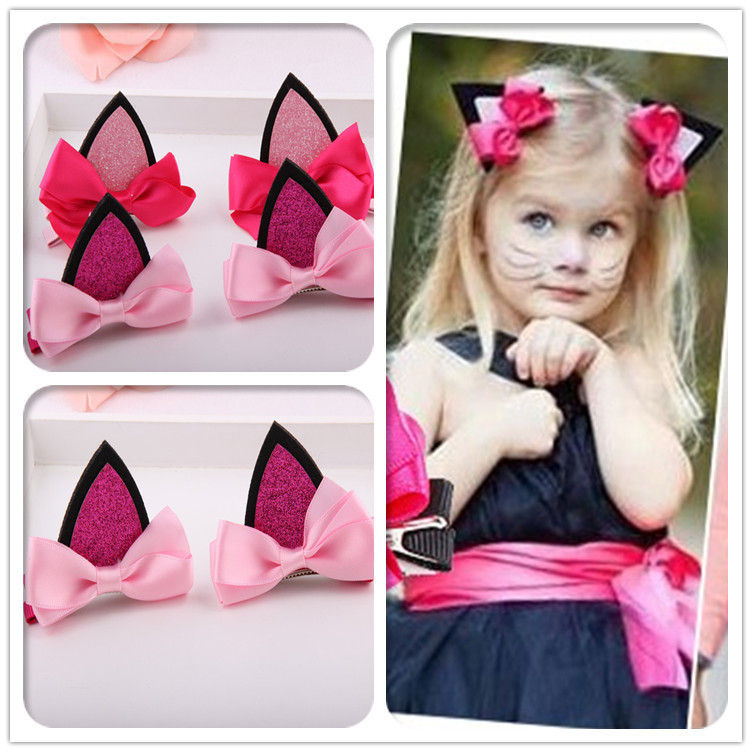 Stereo Double Cat Ear Clip Children Kids Baby Girls Hair Accessories Hairpins Barrettes Headwear Bow Retail Boutique wholesale(China (Mainland))