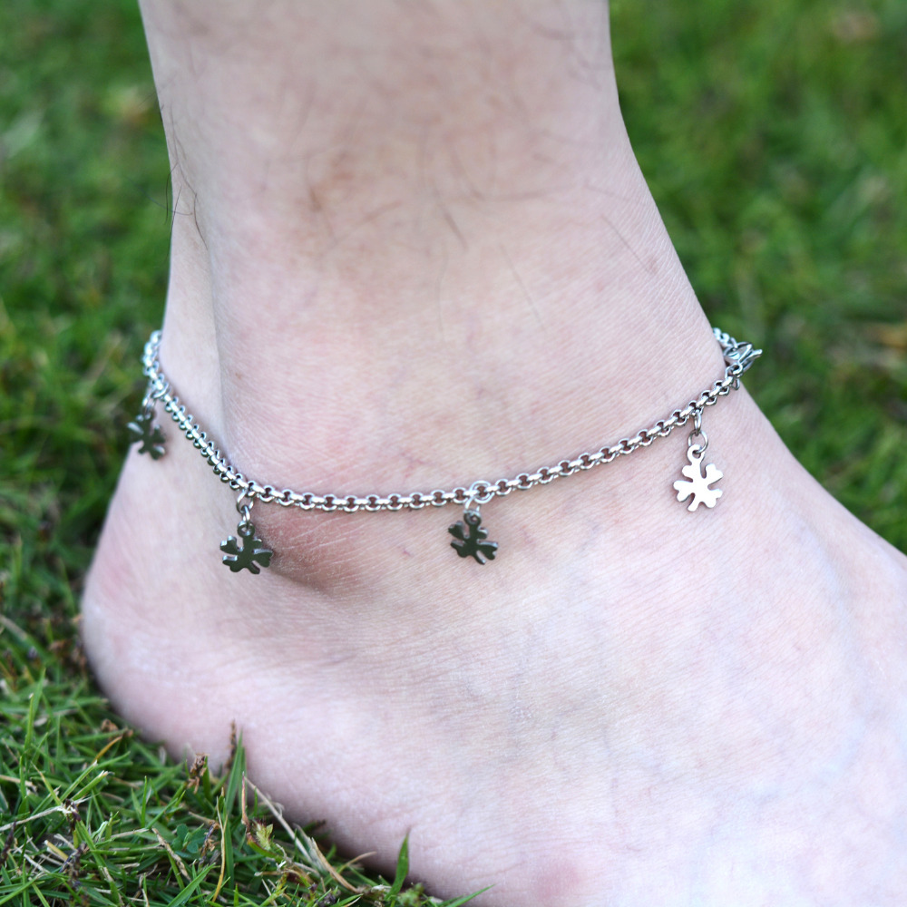 DIY 316L Stainless Steel Anklet Chain with Small Four Leaf Clover Charms Stainless Steel Ankle Bracelet Foot Jewelry A011(China (Mainland))