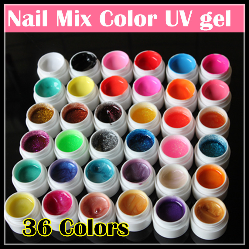 Professional 36 Mix Colors Nail Art UV gel Pure + Glitter Powder+ Shimmer Colorful Nail Gel UV gel set with Nail art brush(China (Mainland))