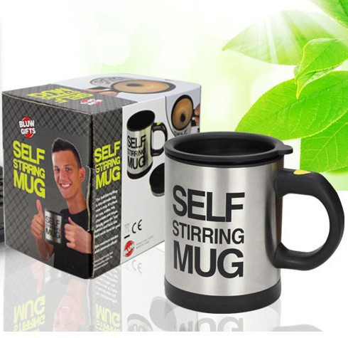 New Gift Self strring coffee cup electric tea mug lounged Automatic Plain Mixing coffee Tea cup Lazy Self strring mug 4 color(China (Mainland))