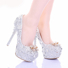 2015 Cinderella High Heels Crystal Wedding Shoes 14cm Thin Heel Rhinestone Bridal Shoes Round Toe Formal Occasion Prom Shoes