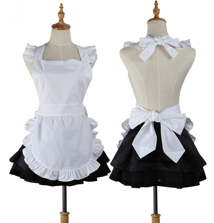 Japanese Plain Short White Cotton Apron Ruffled Waitress Cosplay Avental de Cozinha Divertido Tablier Cuisine Pinafore Apron(China (Mainland))