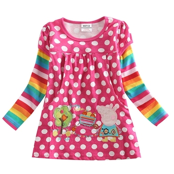 girls clothes children t-shirts for girls nova kids clothing embroidery cotton long sleeve t shirts for girls bobo choses F6128Y