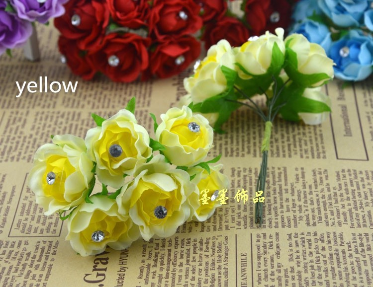 < 60PCS/LOT >3.5CM Artificial Silk flower with Rhinestone wedding flower marriage decoration fake flower diy craft accessory(China (Mainland))