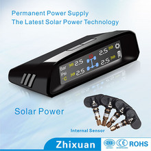 Black solar power 4-internal sensor tire pressure monitoring system tpms