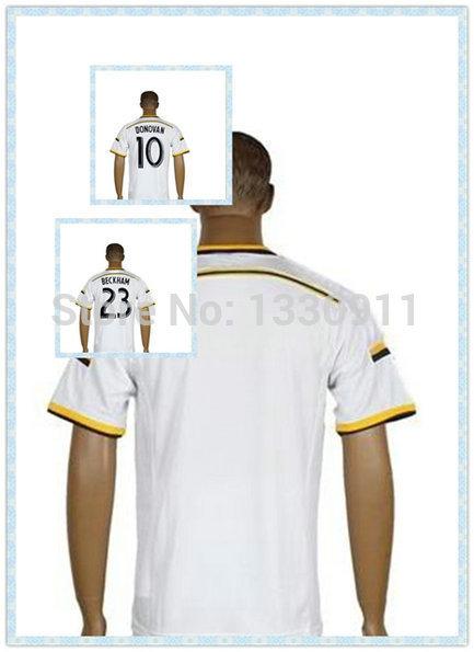Wholesale Thailand LA Galaxy DONOVAN KEANE ZARDES ROGERS GARZA Beckham Soccer Jersey 2015-2016 Home White Jerseys(China (Mainland))