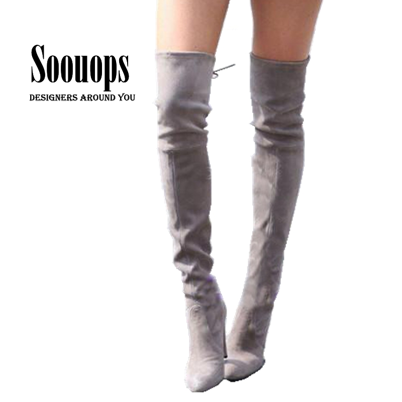 Plus size 33-45 Women Faux Suede Thigh High Boots Sexy Fashion Woman Over the Knee Boots High Heels Woman Shoes(China (Mainland))