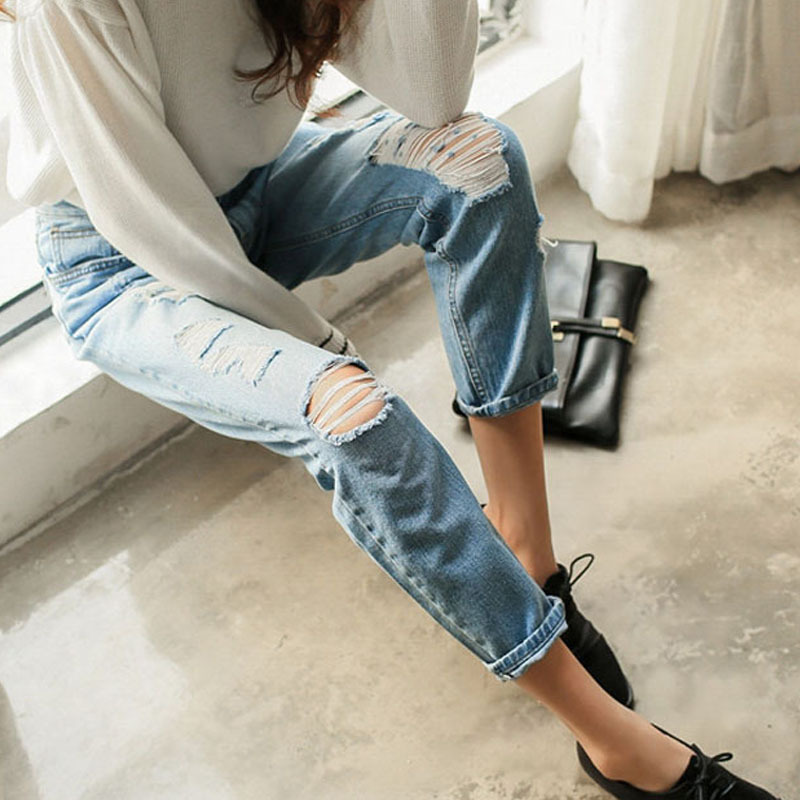 2015 100% Cotton Mid Waist Boyfriend Ripped Loose Jeans Women Casual Light Blue Denim Holes S0508 - Hello madam store