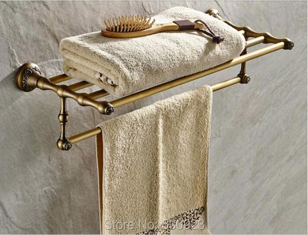 Newly Solid Brass Antique Brass Bathroom Towel Shelf Retro Carved Pattern Base Towel Rack Holder W/ Single Towel Bar Wall Mount(China (Mainland))